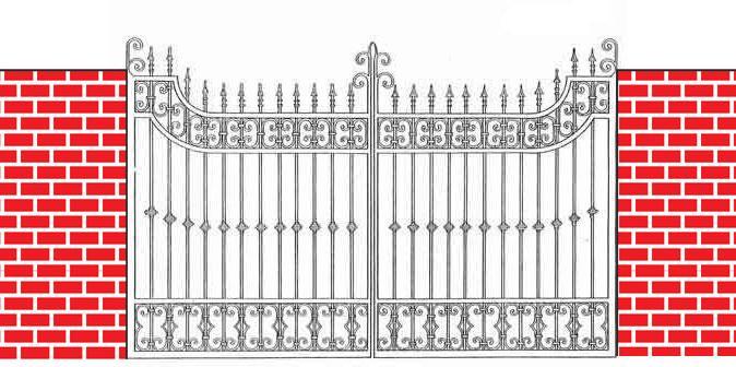 decorative iron gate drawing