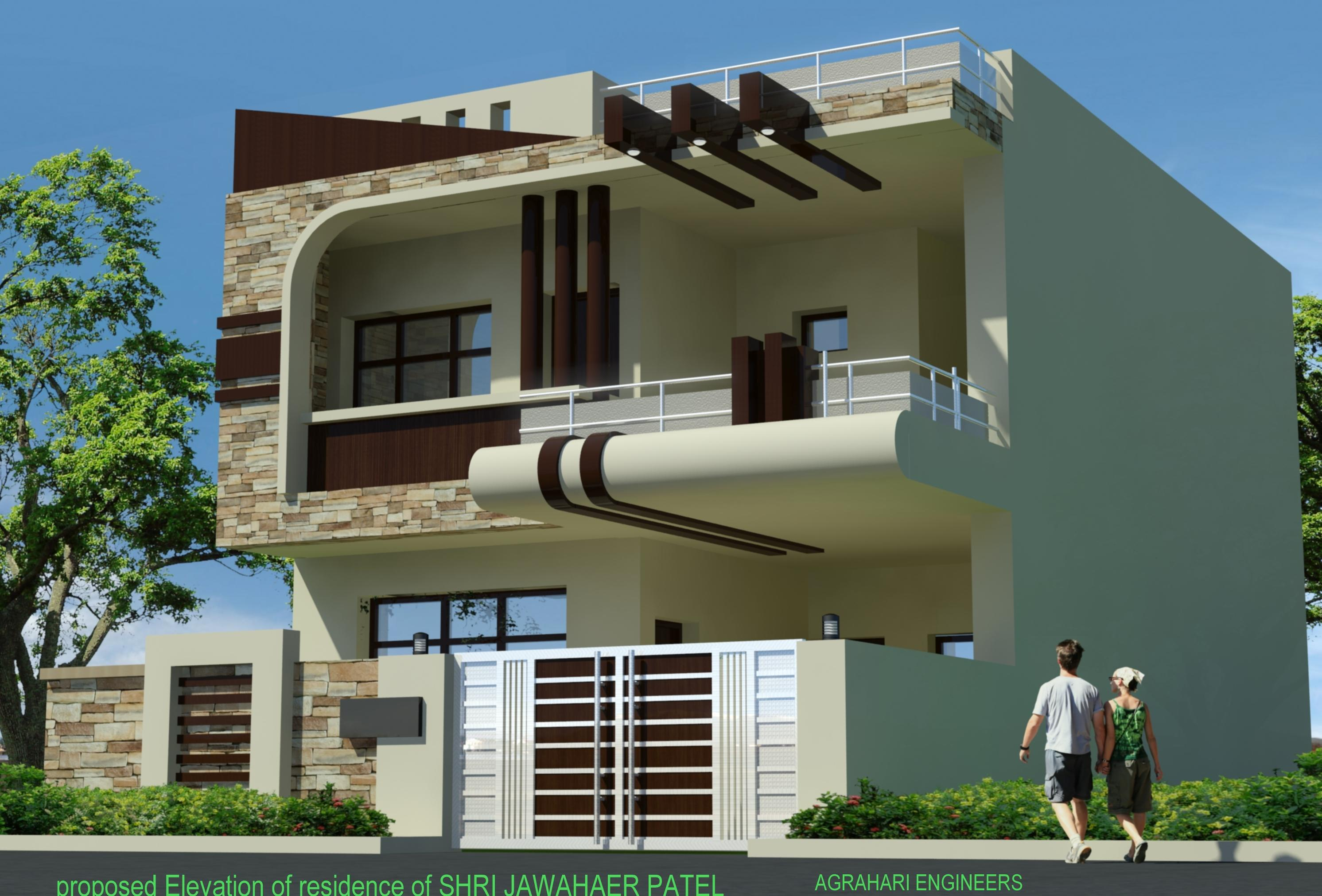 Building Front Elevation Staircase : Front elevation of plot building gharexpert