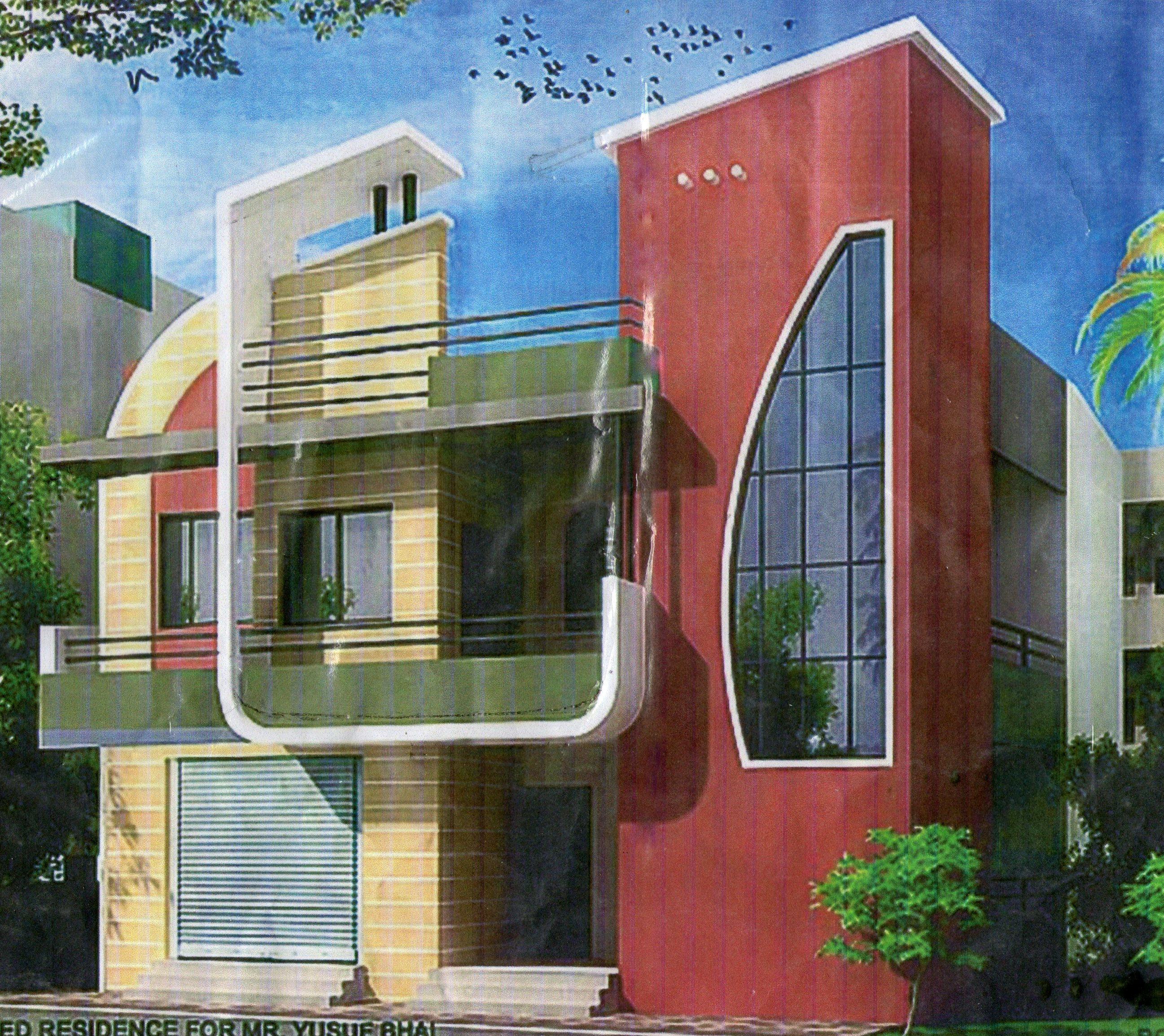 Gharexpert Front Elevation : Front elevation of plot building gharexpert