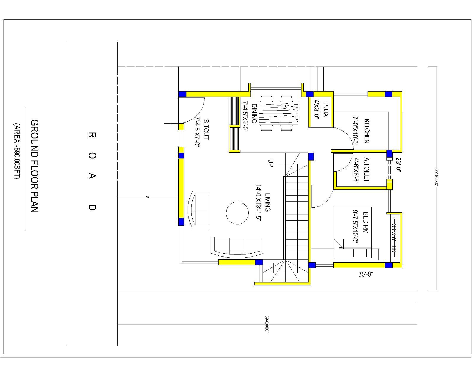 30x40 north facing plan