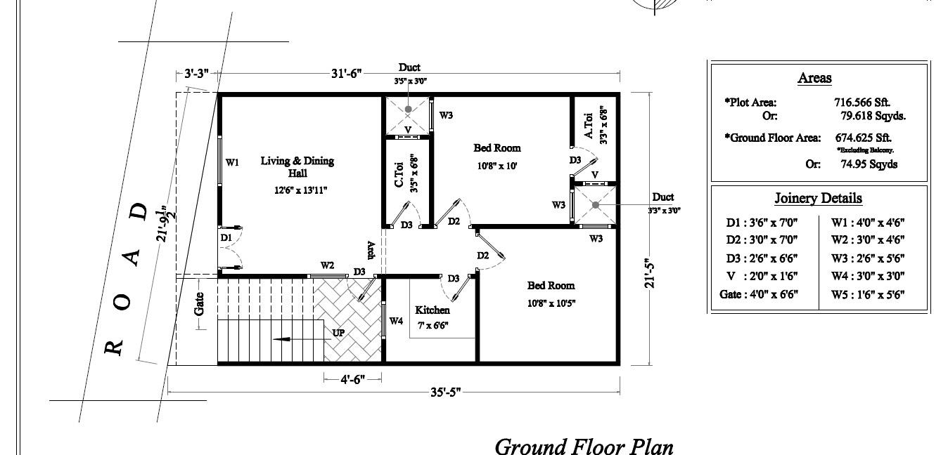 Ground floor plan 675 Sq Feet