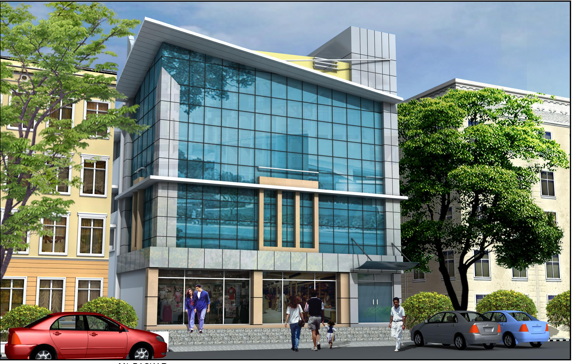 3d Elevation Design Of Shopping Complex Gharexpert
