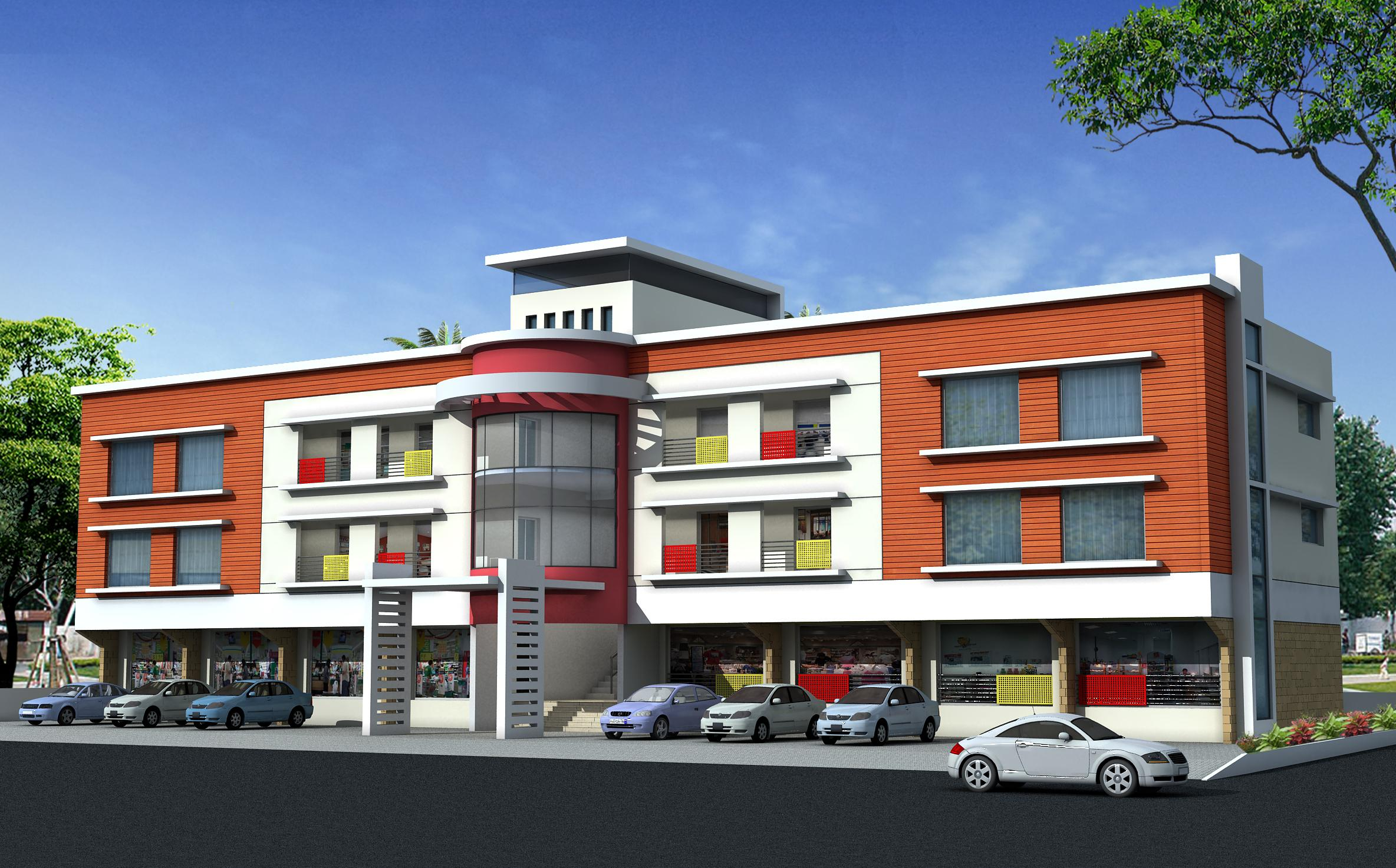 Residential apartment building exterior elevation in 3d for 3 storey building front elevation