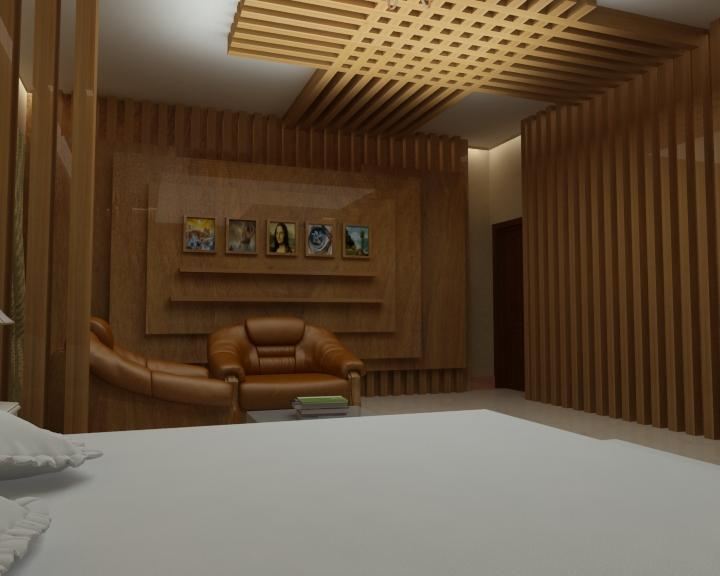 Wooden interior for bedroom