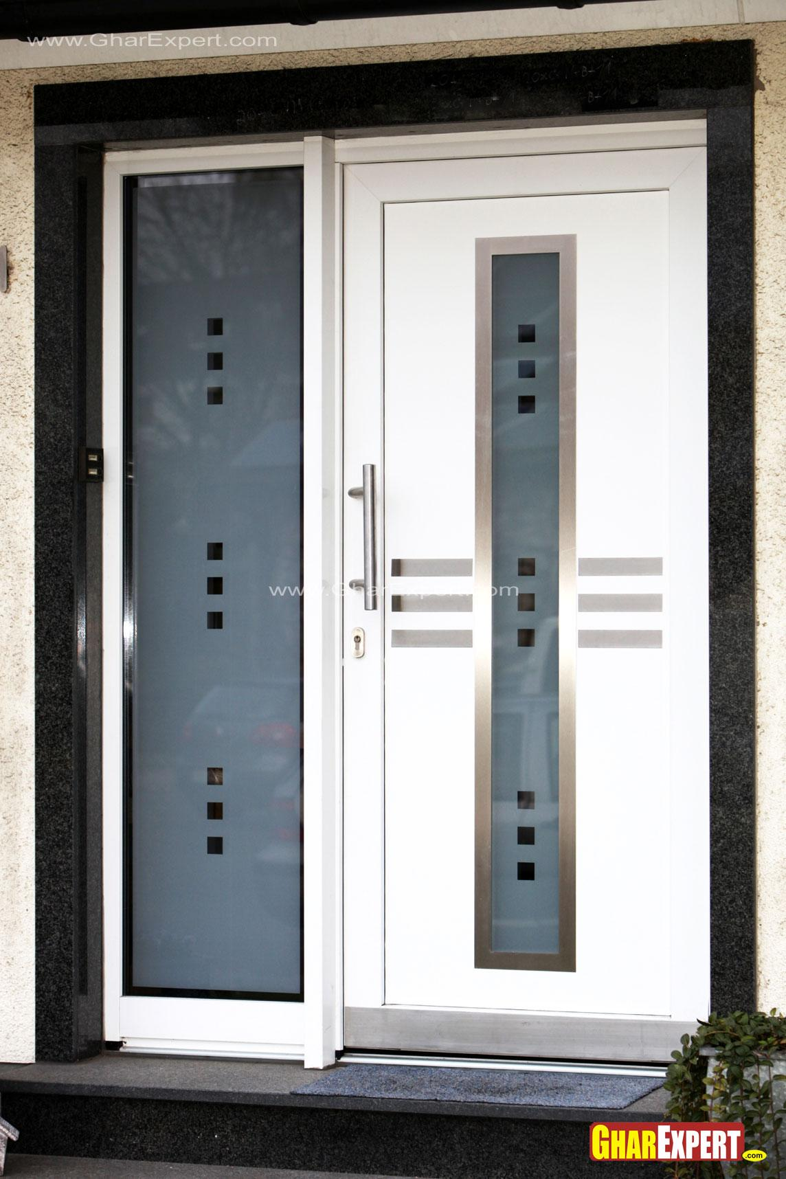 White modern entrance door design gharexpert for Front door design for flats