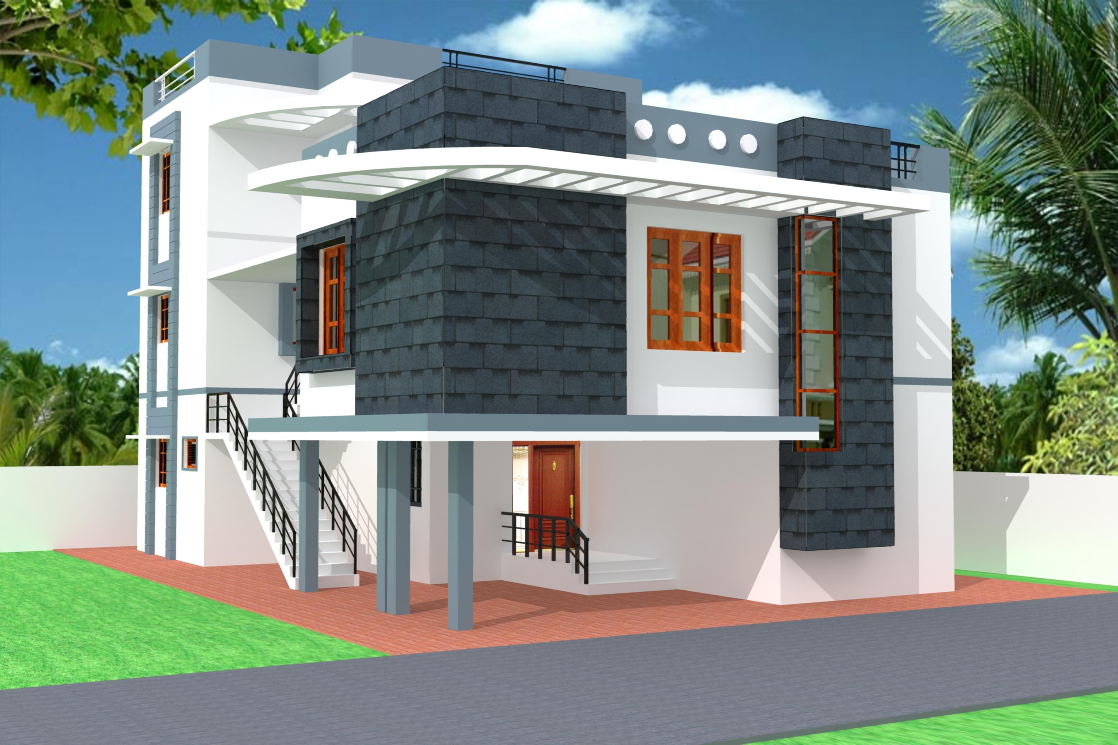 Modern 3D Home Elevation GharExpert