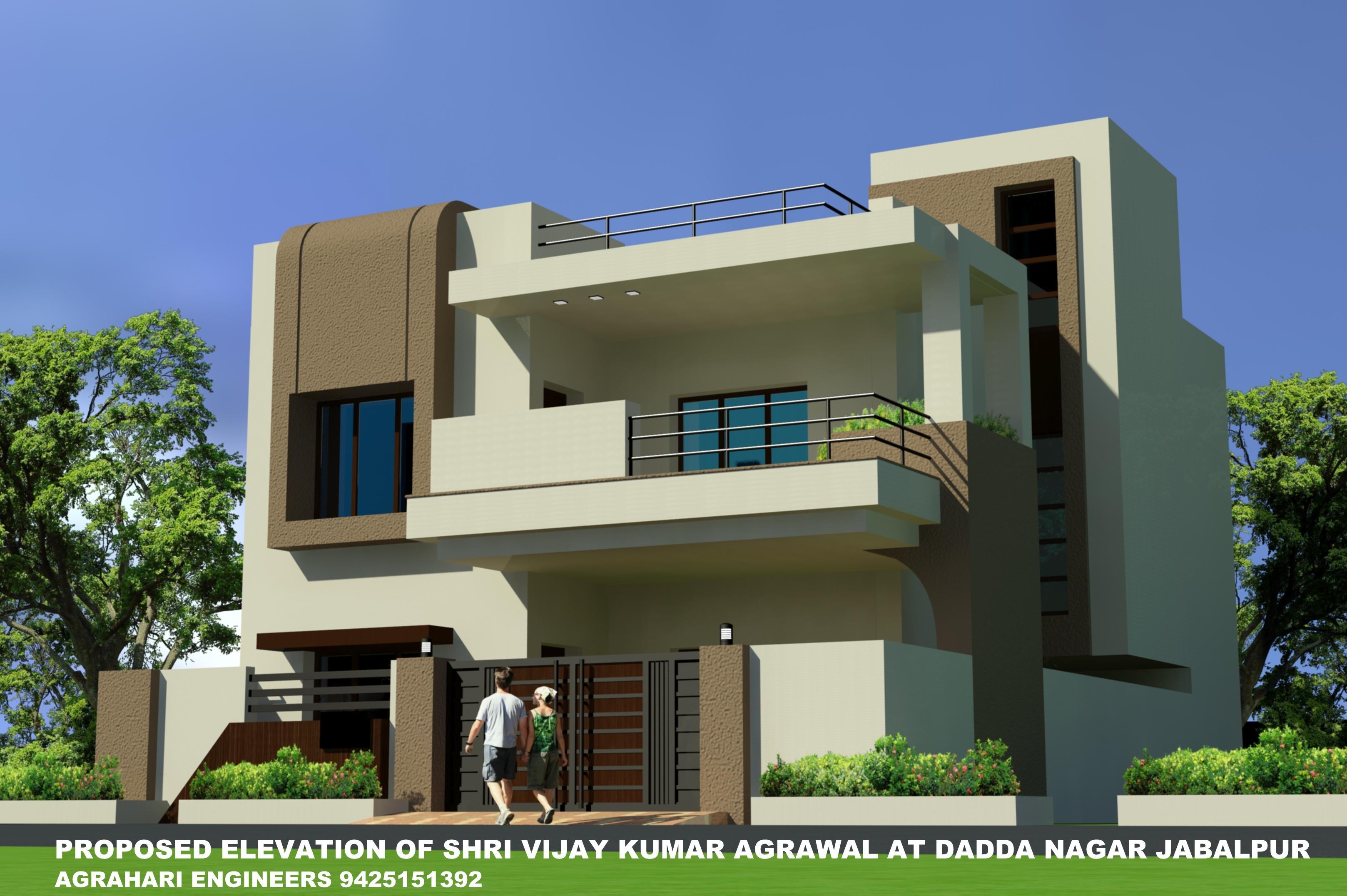 Home Front Elevation Steel Grill Design : Elevation of  plot building gharexpert