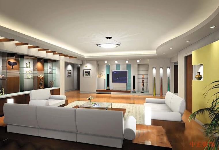 A beautiful drawing room design with good ceiling and wall decor ...
