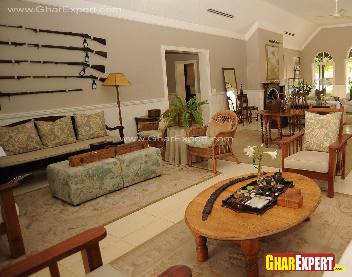 Rifles hanged on living room w....