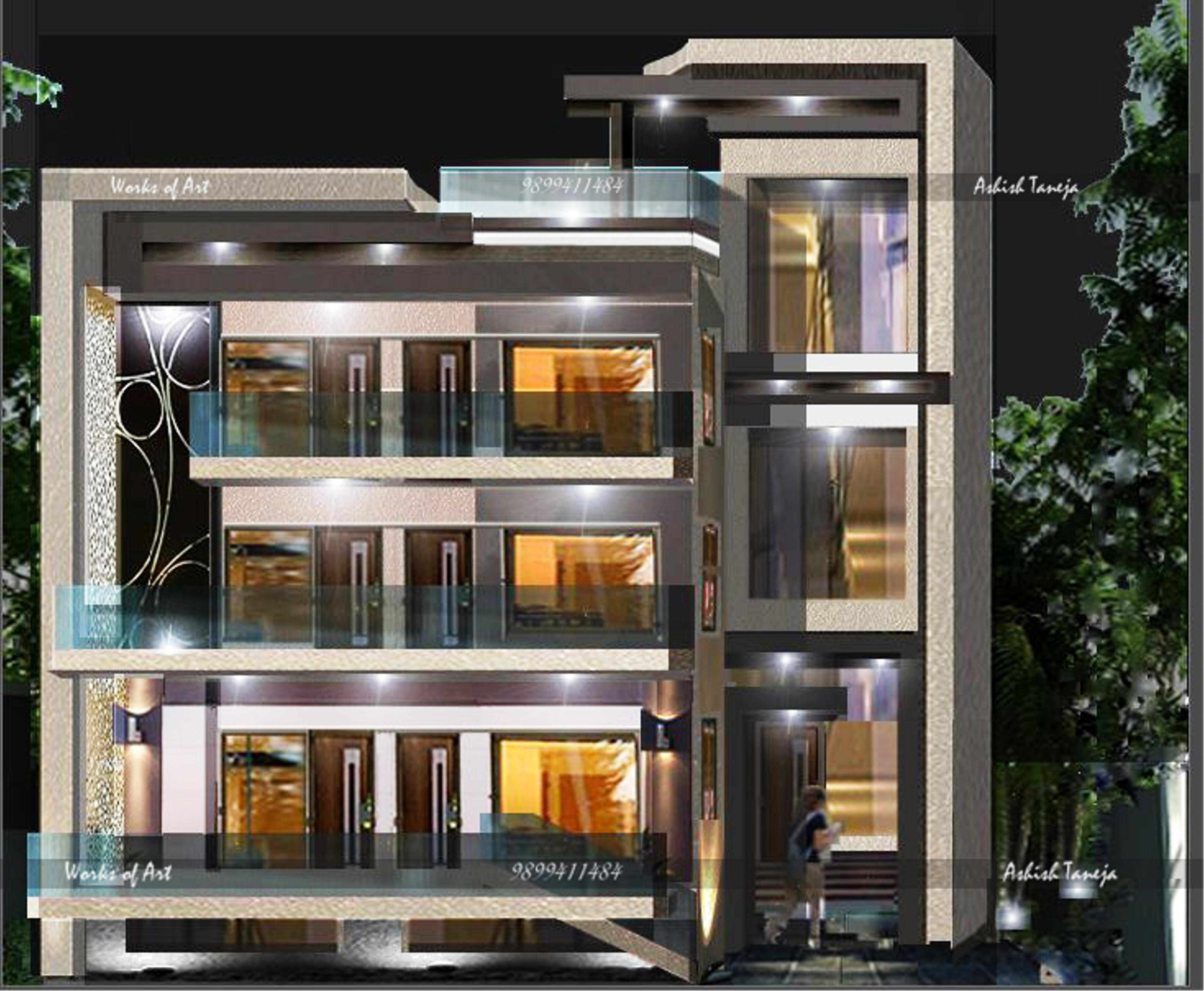 Front Design Of House In Haryana Part - 24: FRONT-NITE VIEW-EXECUTION VIEW.