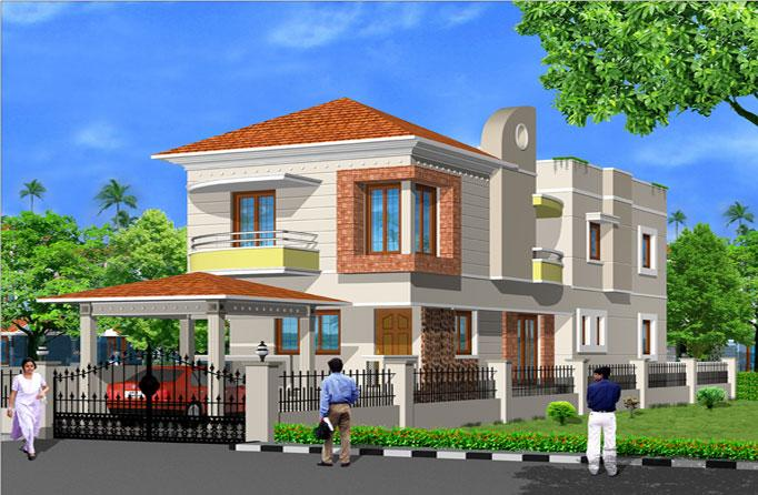 Elevation for a duplex house 1 - GharExpert