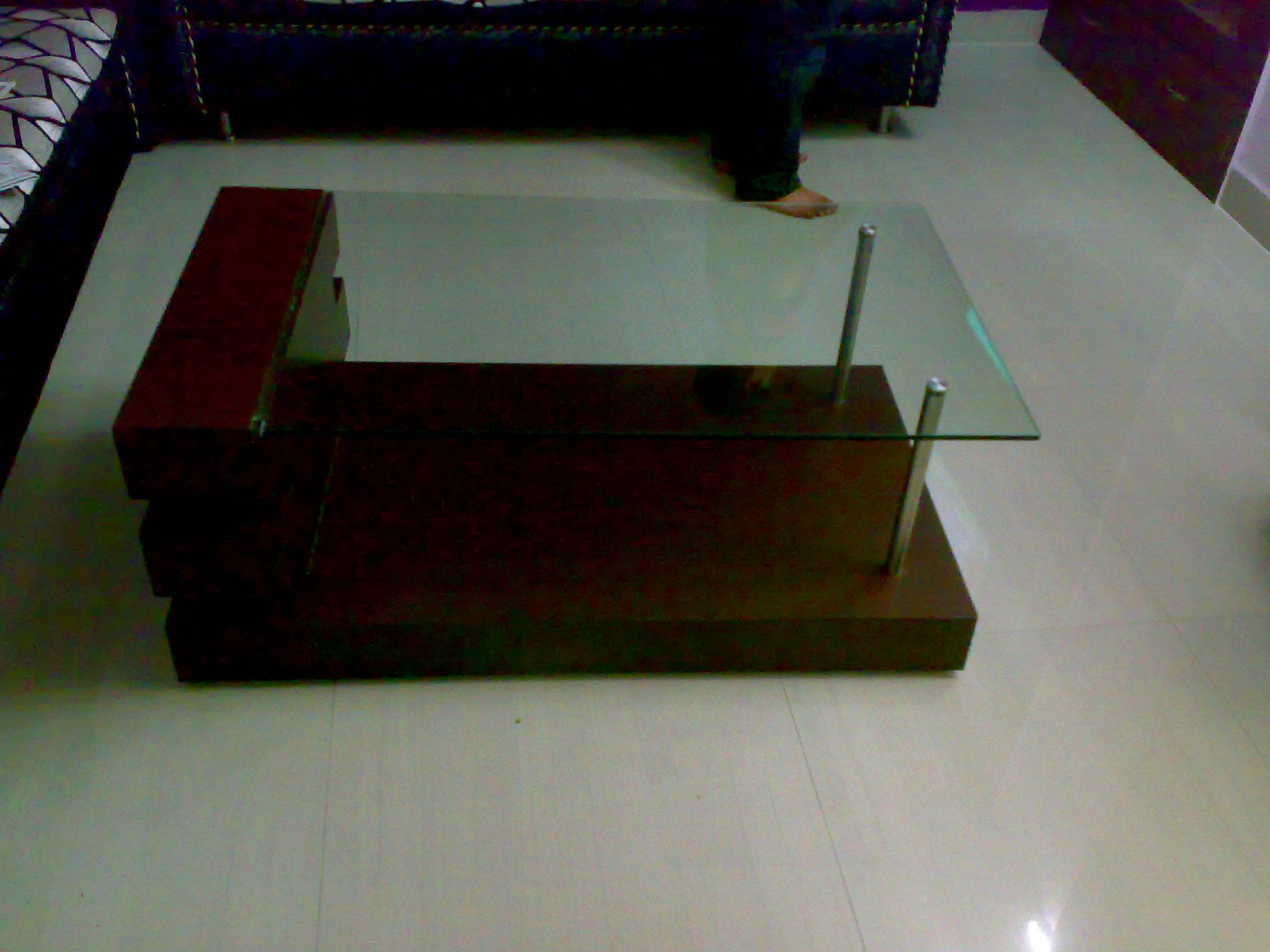 Center table wooden table in glass top gharexpert for Best centre table designs