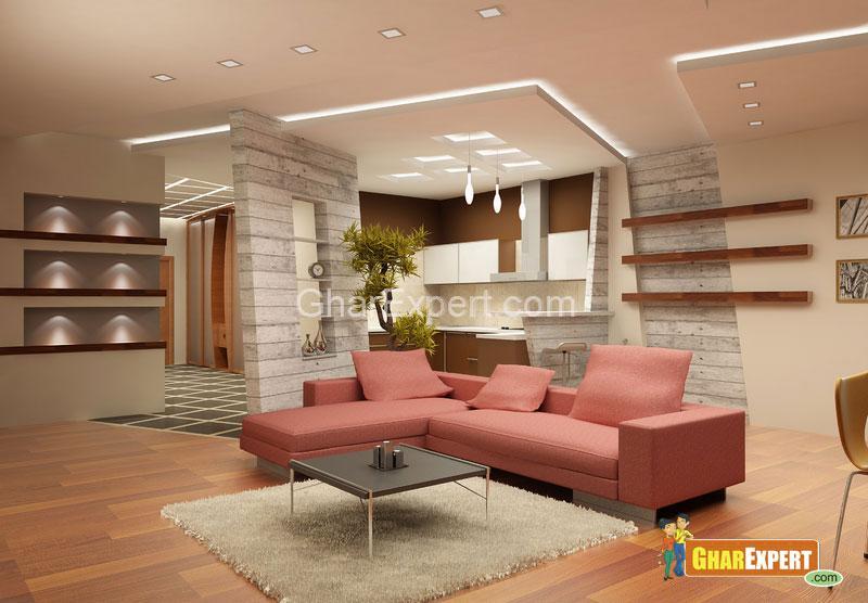 Stylish Drawing Room with Lighting - GharExpert