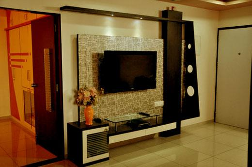 Modern multi layer lcd wall unit with concealed lights for Lcd wall design in bedroom