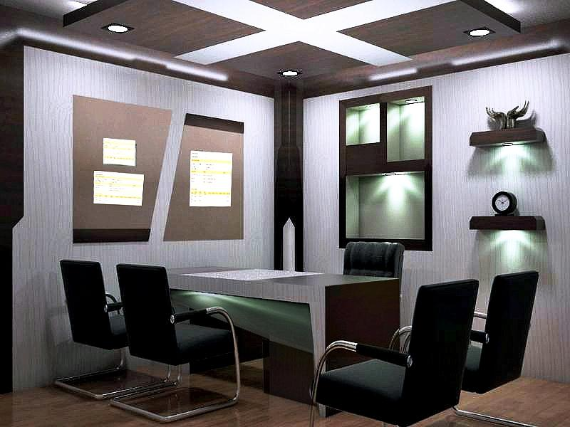 Conceptual View For Directors Cabin Interior Gharexpert