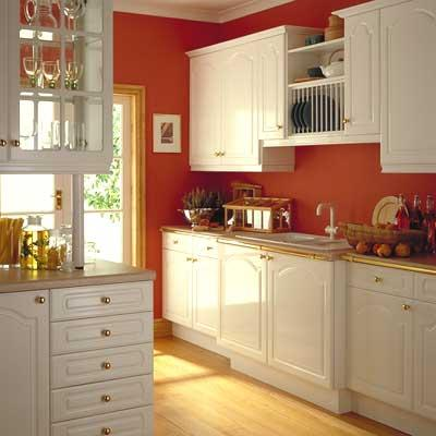 I need help quick for White cabinets red walls kitchen
