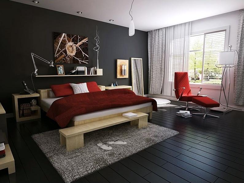 Modern Bedroom With Dark Floor And Wall Design Gharexpert
