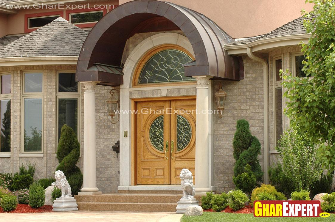 Beautiful Curved Roof Over The Porch In Front Door Gharexpert