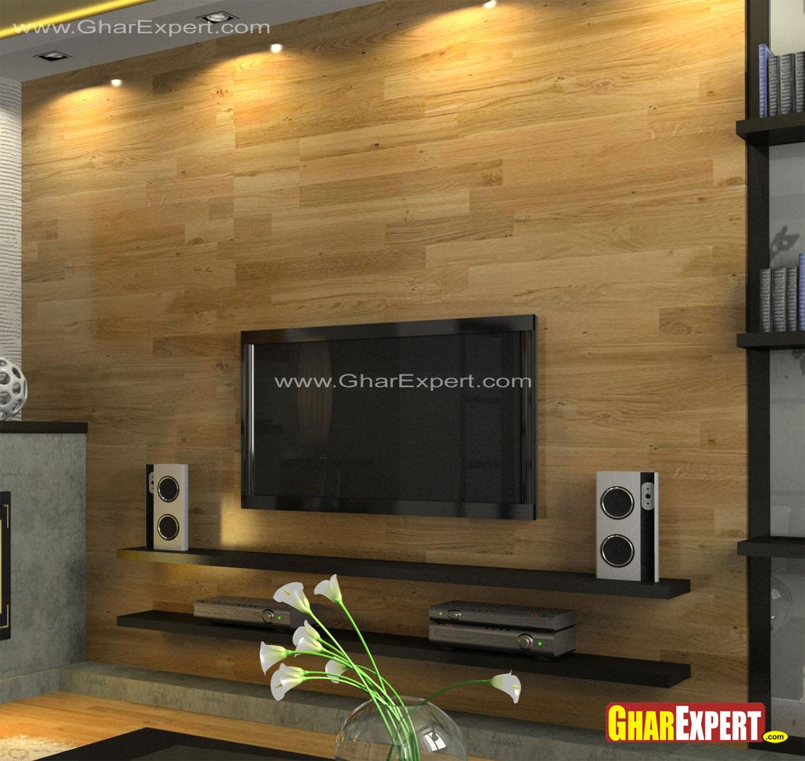 wall mounted LCD and shelves f....