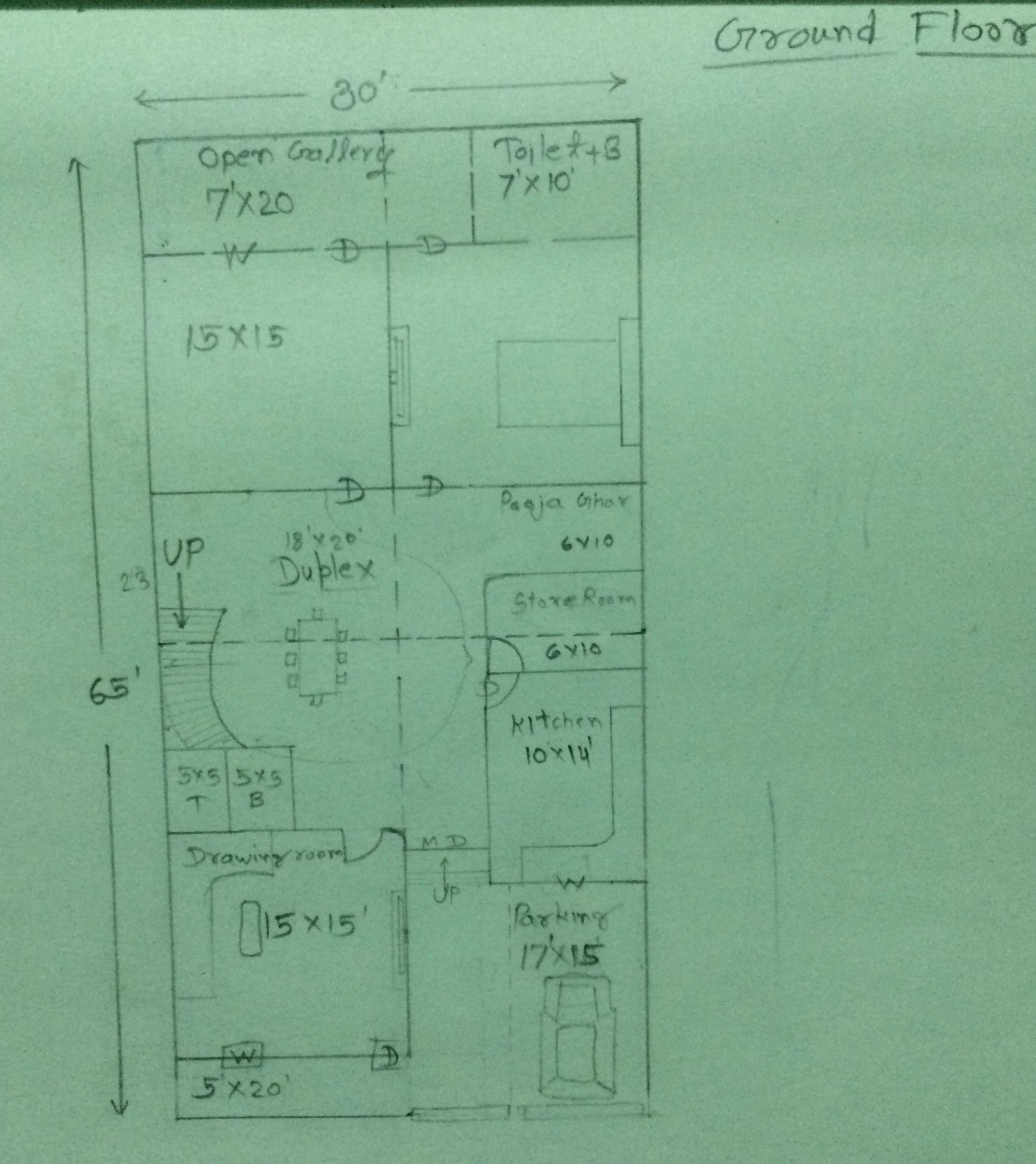 30*65 south facing house plan