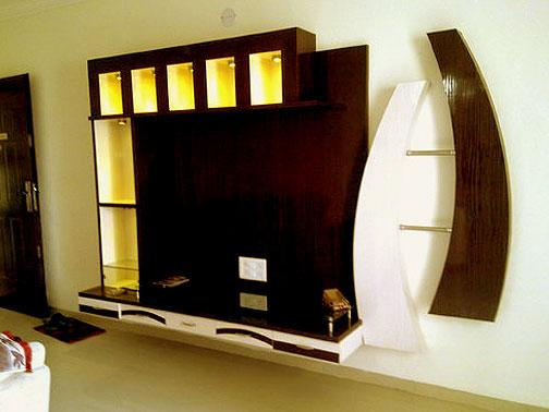 Artistic Wall Tv Unit In Wood With Horizontal And Vertical