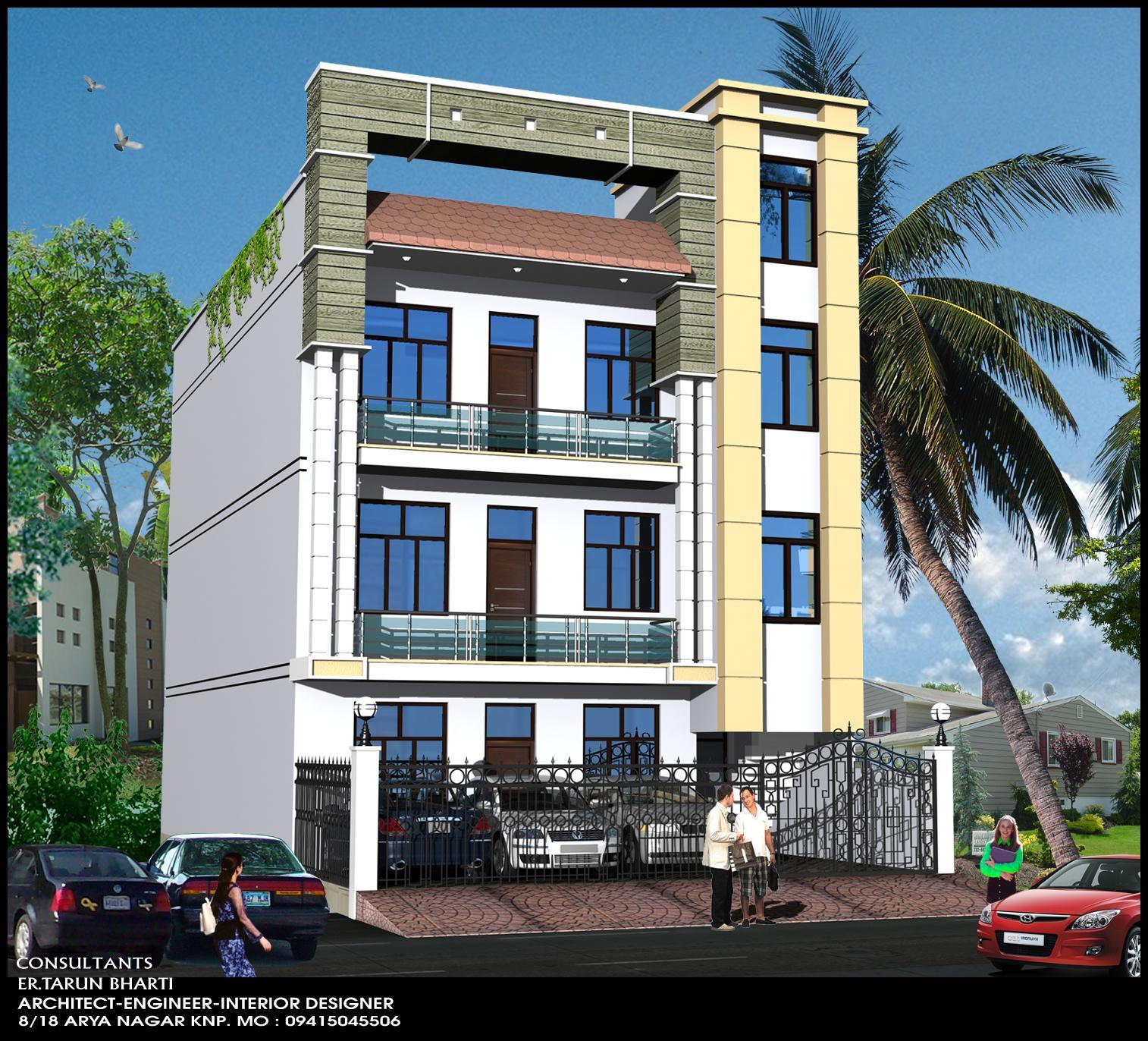 Front Elevation Pop Design : Modern office elevation gharexpert
