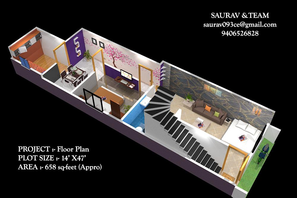 House Plan for 14 Feet by 50 F....