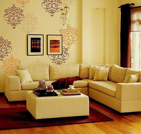 Wall Stencil Dual Shade Design For Living Room Gharexpert