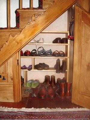 shoe rack under stairs