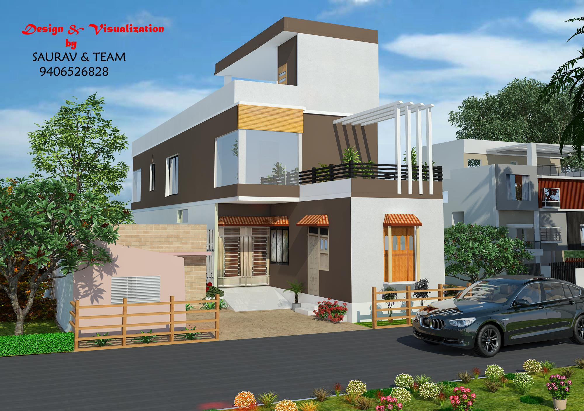 Front Elevation Designer In Bhopal : X feet house front elevation gharexpert