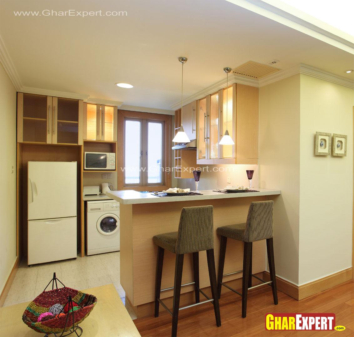 Small Two Seat Breakfast Counter In Kitchen Gharexpert