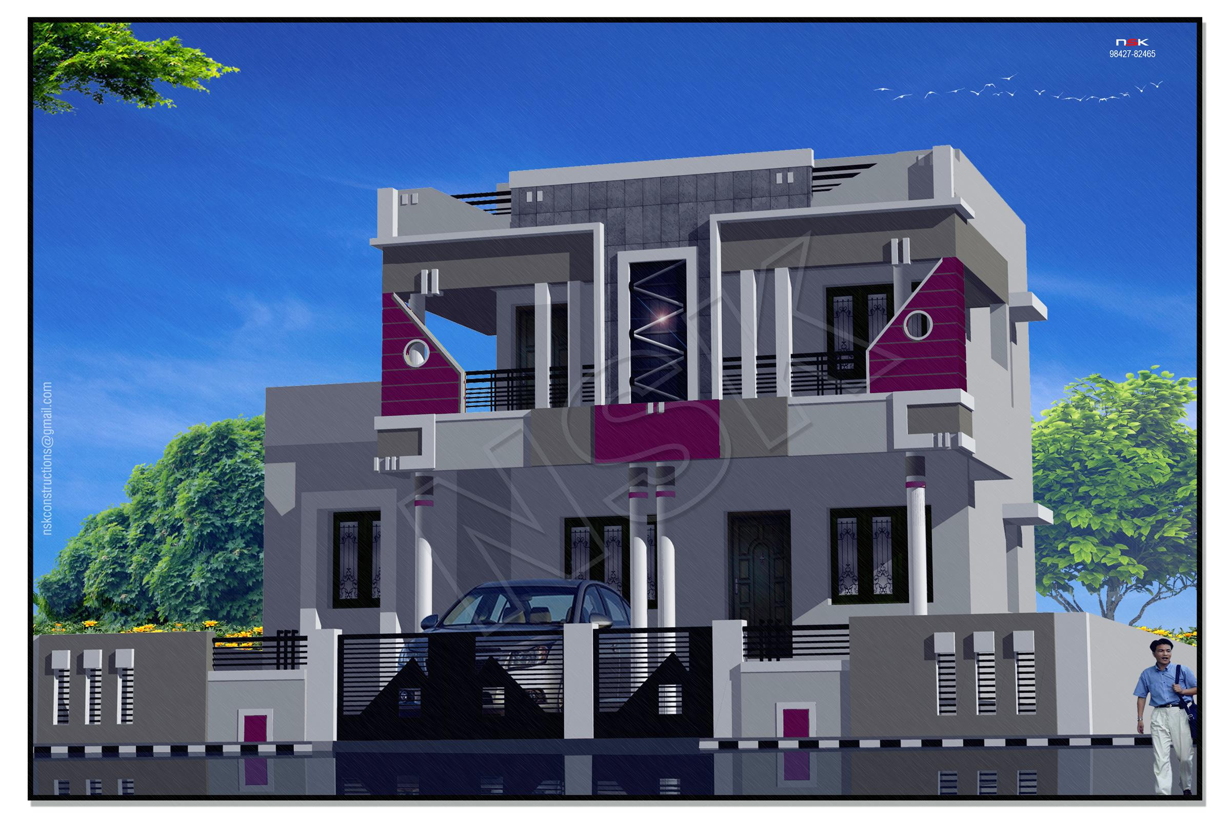 3d elevation house home exterior front elevation for Single floor house designs tamilnadu
