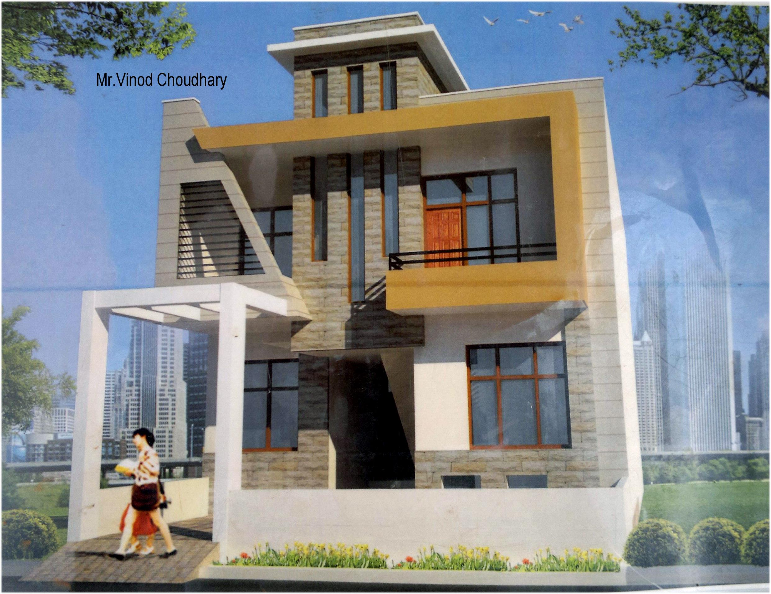 Modern single family front house elevation design gharexpert