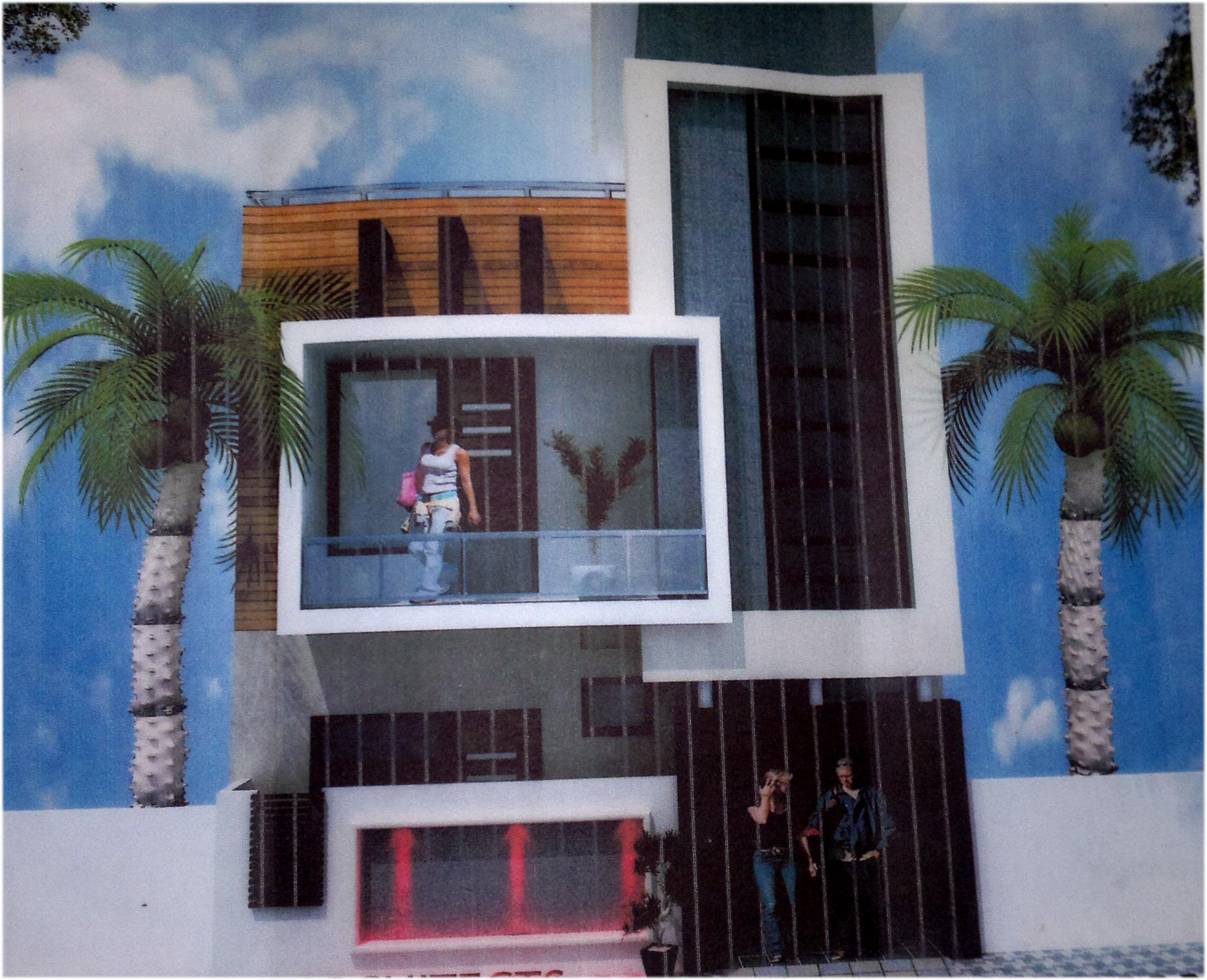 Front Elevation Glass Design : Boxed style concept in a home elevation front house
