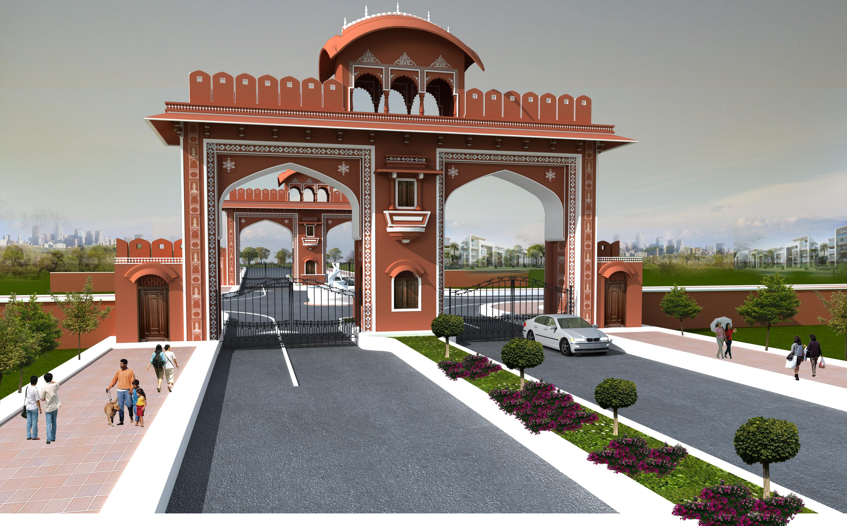 Front Elevation Gate Design : Main gate design for a township gharexpert
