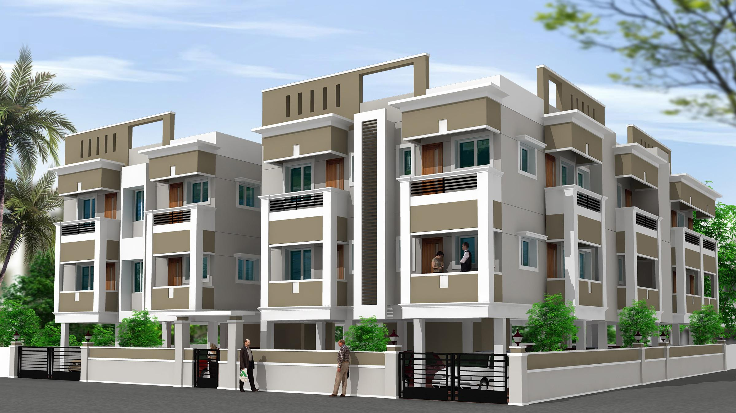 Residential building elevation design with detailing for Residential building plans