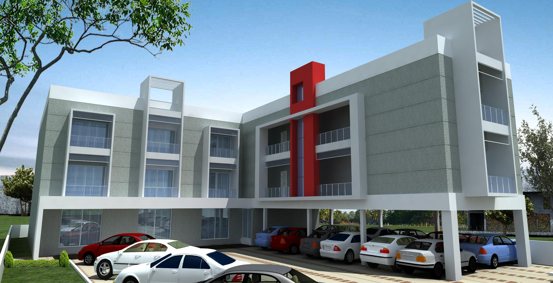 Front Elevation With Stilt Parking : Modern elevation with car parking at stilt gharexpert