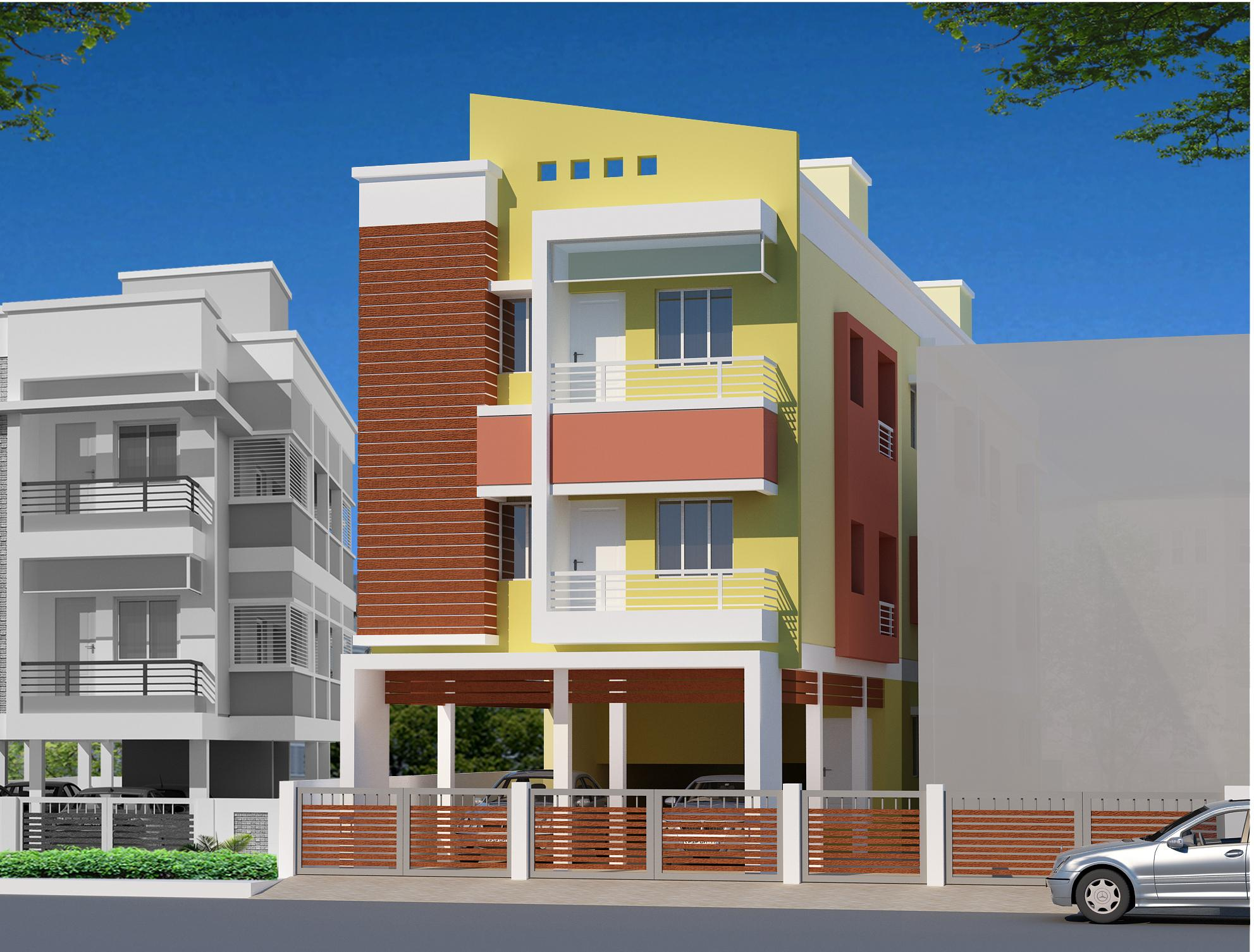 Residential multi storey building elevation design with small front ...