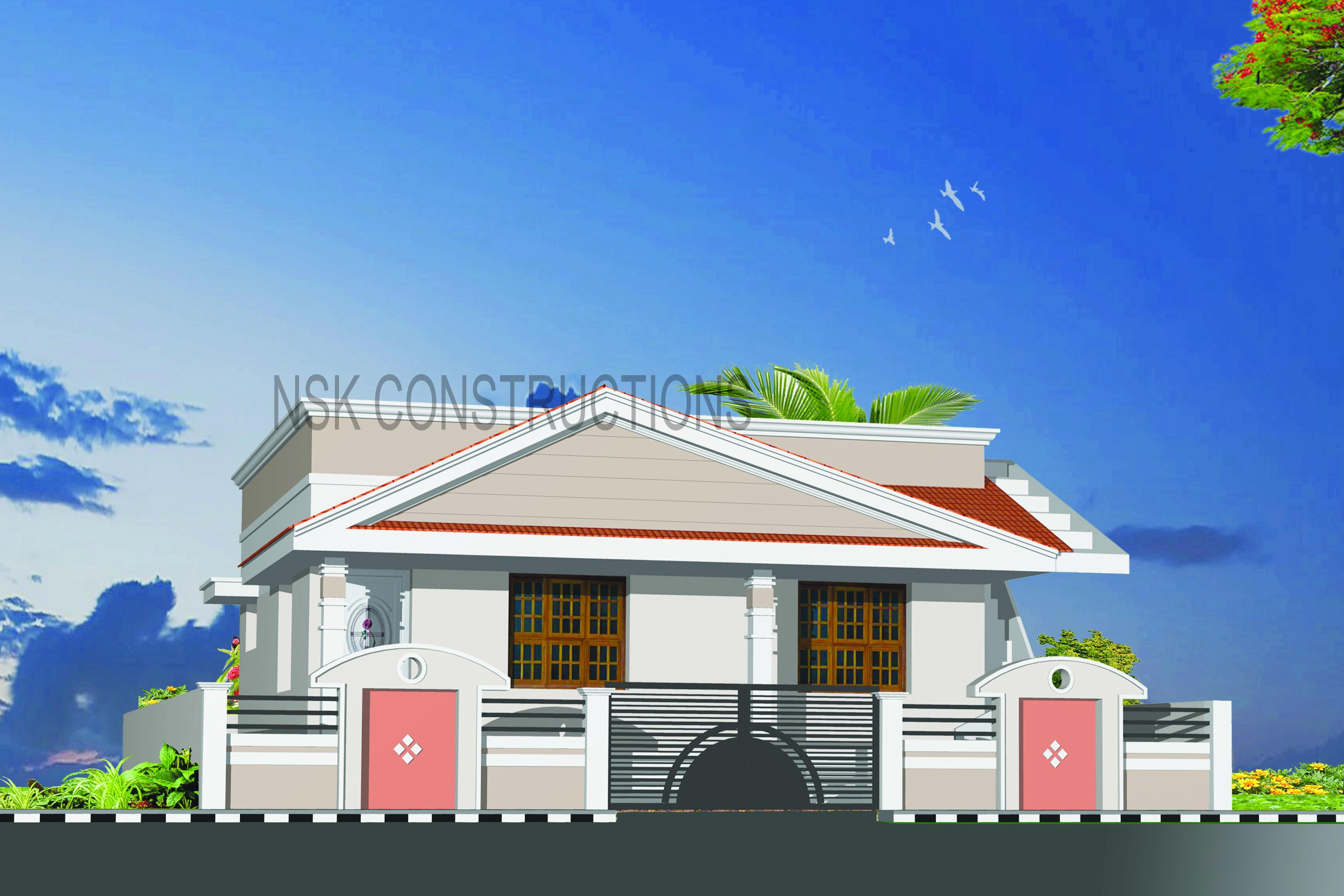 Front Elevation Sloped Roof : Sloped roof elevation design gharexpert