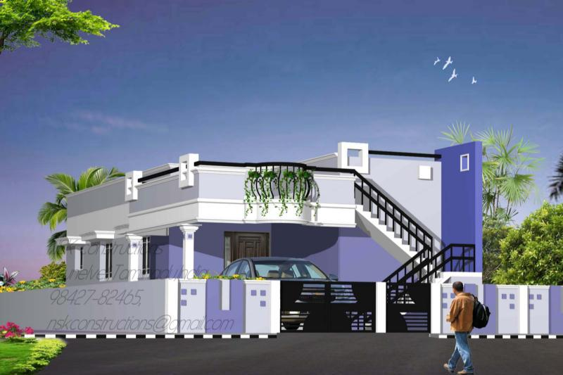 Single floor front elevation of residential building joy for Indian house front elevation photos for single house