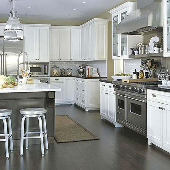 White Kitchen Cabinets Brown Tile Floor: Dark Gray Flooring Design For Kitchen