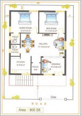 900 sq foot House Plan GharExpert