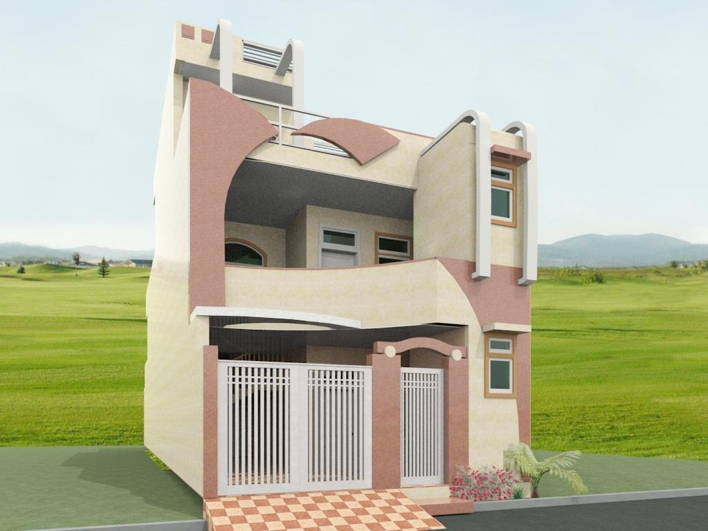 front elevation design for a double story home - GharExpert