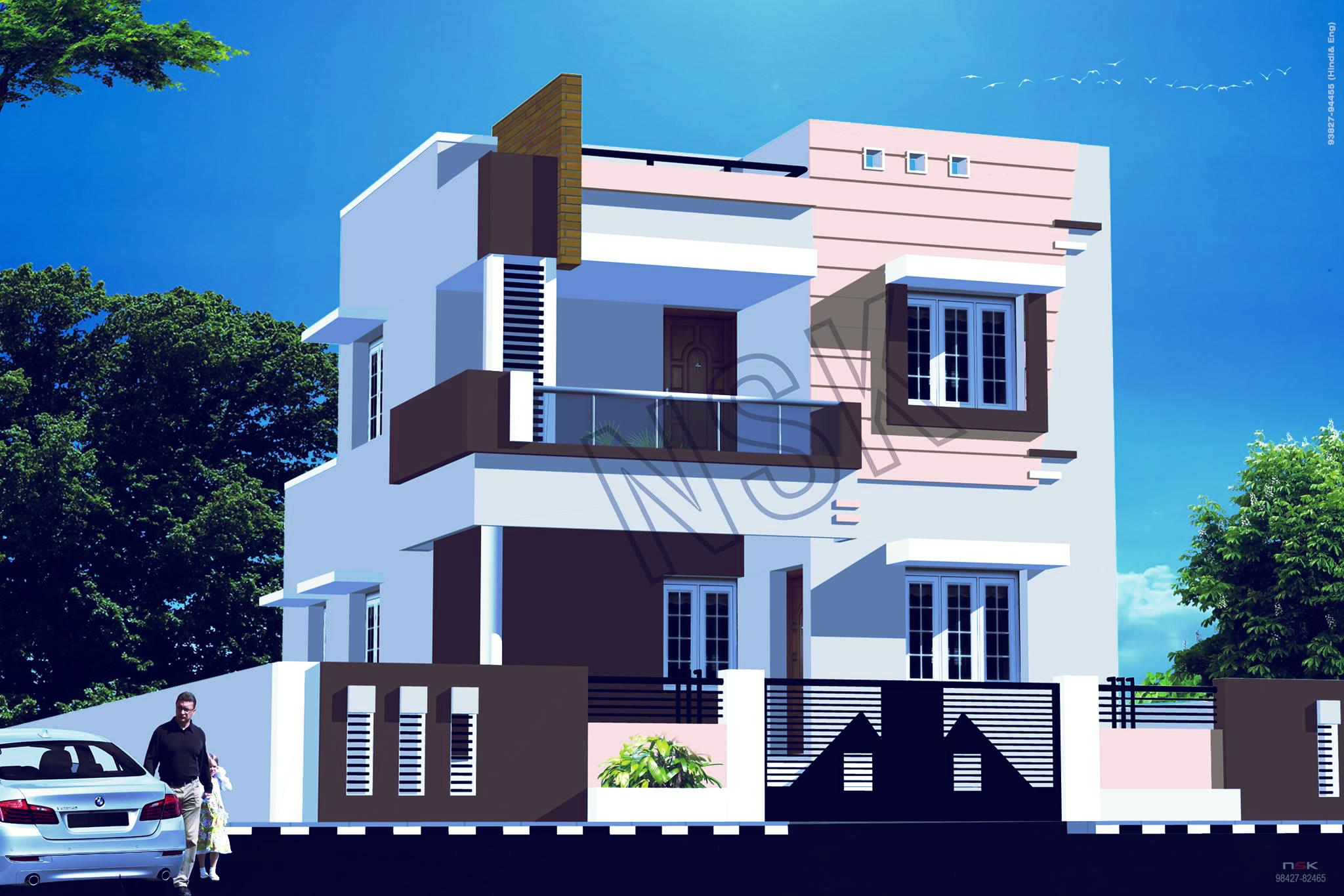 3d Front Elevation Free Download : Exterior d house front elevation gharexpert