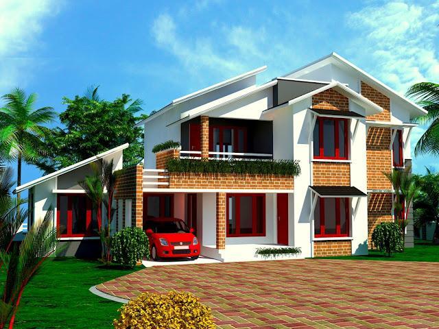 Front Elevation Sloped Roof : Sloped roof house elevation gharexpert