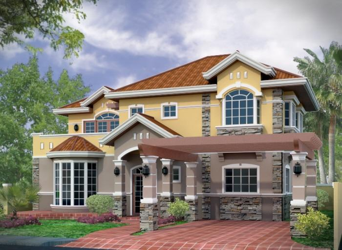 Sloped roof house elevation gharexpert for House design collection