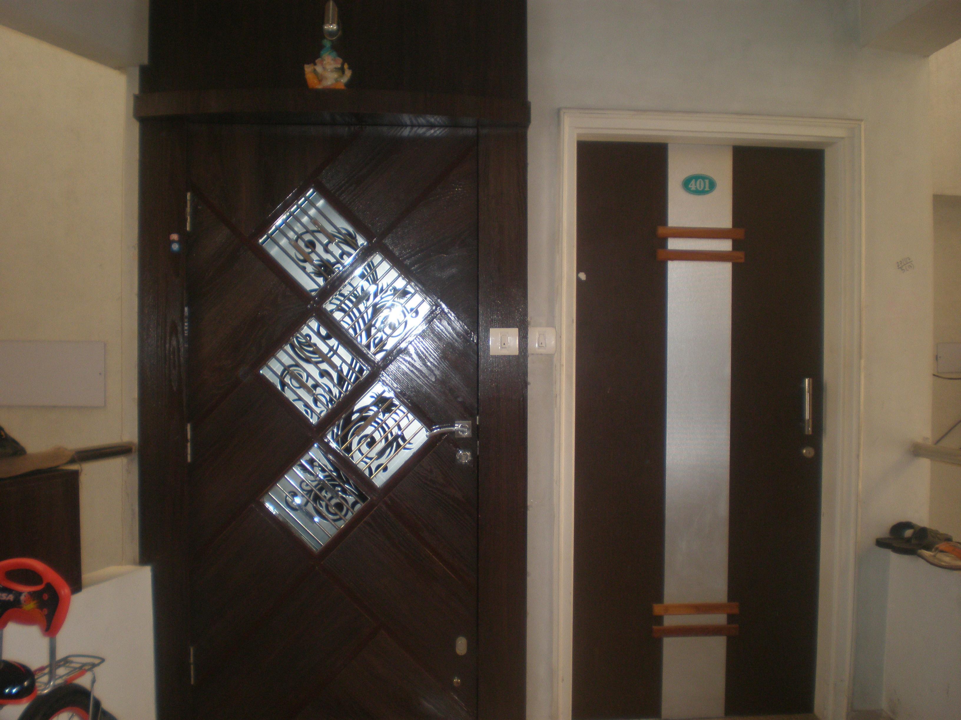 Glazed door design in wood