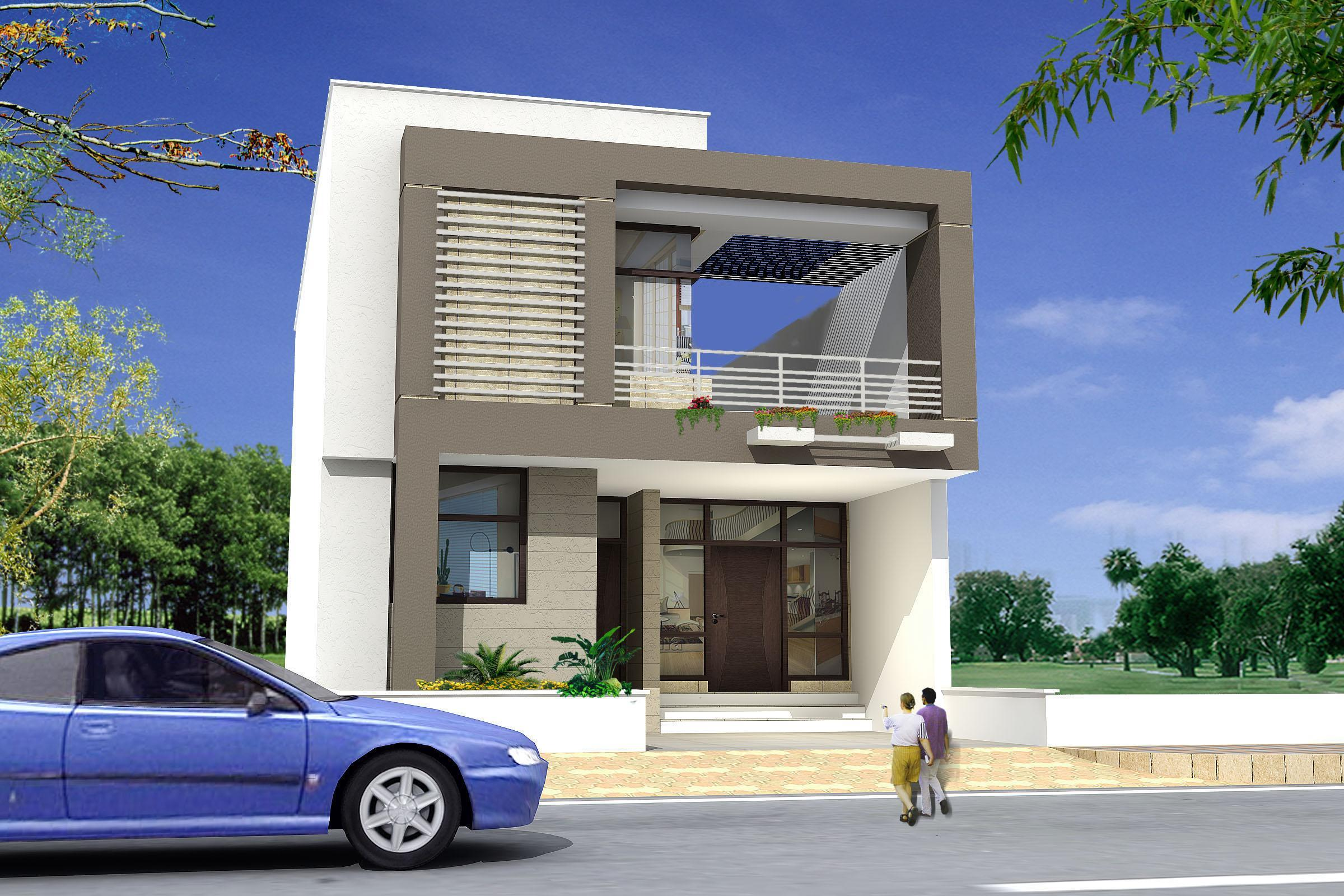 3d design of exterior house gharexpert for Exterior 3d design