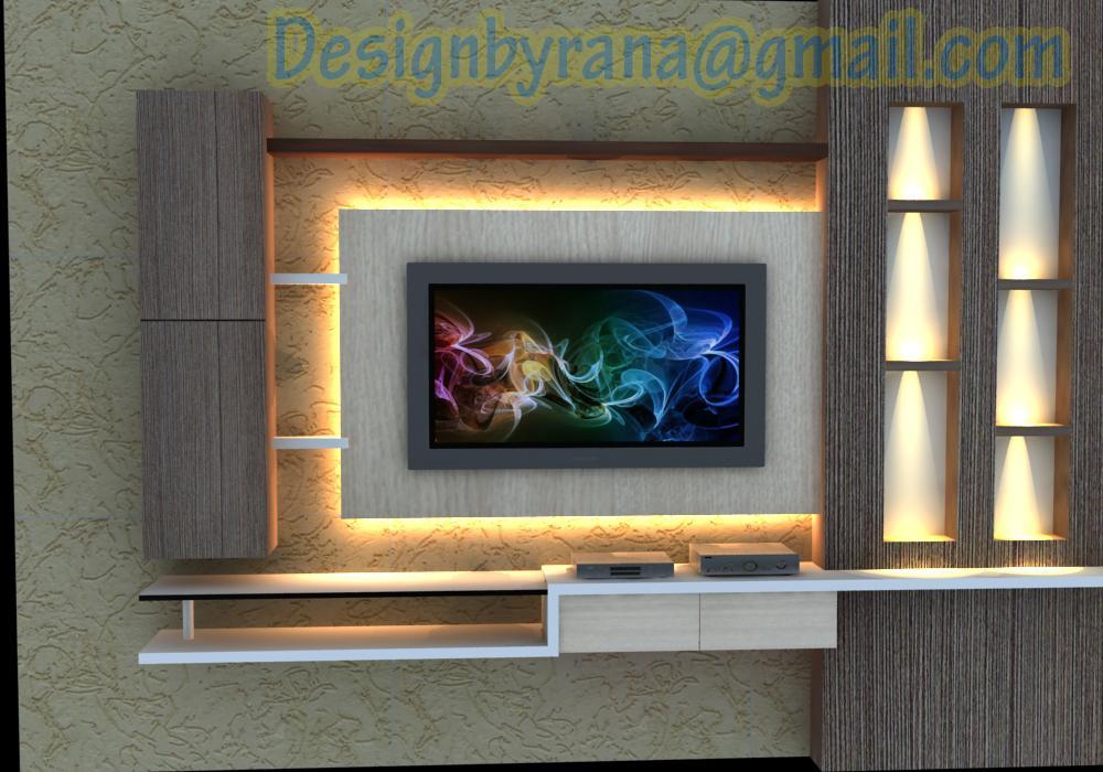 tv wall unit interior design - Living Room Tv Wall Units India