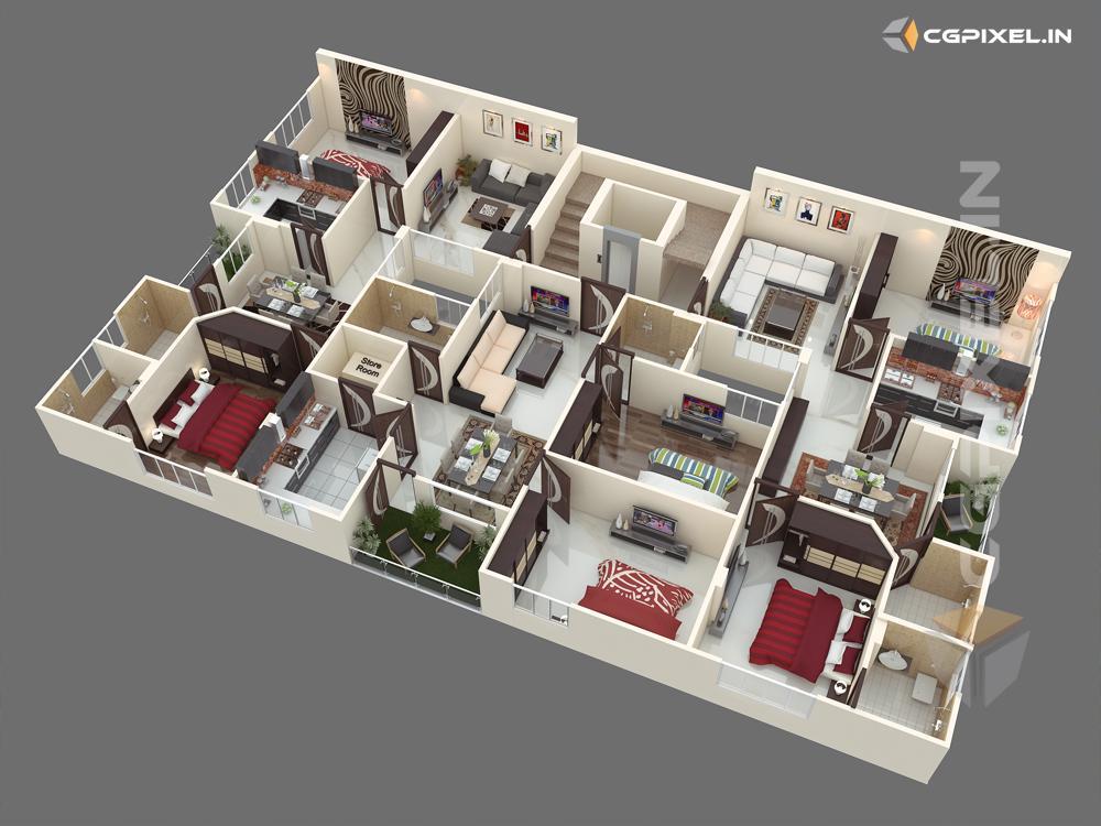 3D VIEW KOTA FLOOR PLANNING